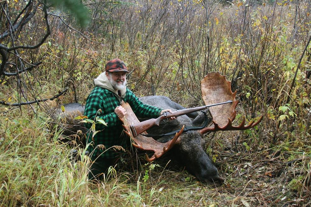 Happy moose hunter.