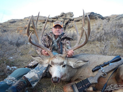 Nice wide, tall and heavy mule deer buck.