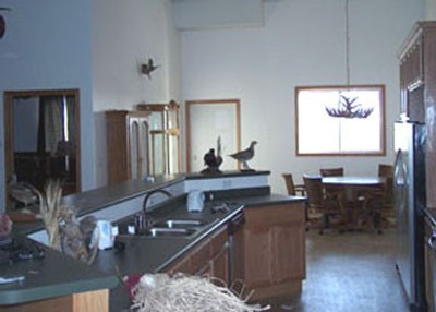Inside whitetail hunting lodge.