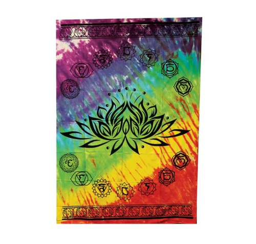 Threadheads Tapestry - Tie Dye Chakra Lotus Flower