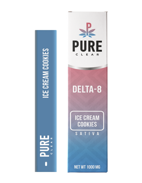 Pure Clear Delta-8 THC Ice Cream Cookies  sativa 1000mg  Disposable