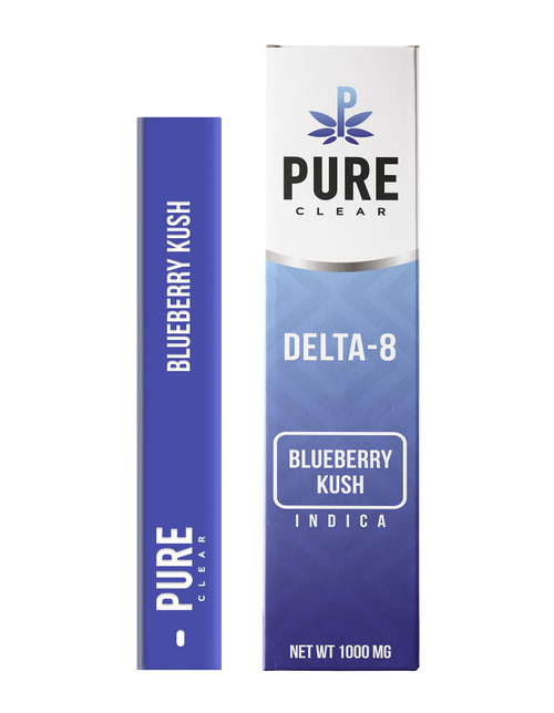 Pure Clear delta 8 Blueberry kush  Indica 1000mg Dispsable