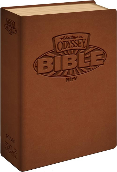 NIrV Adventures in Odyssey Children's Bible - Italian Leatherette, Brown, Full Color