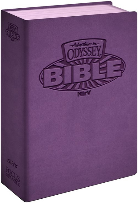 NIrV Adventures in Odyssey Children's Bible - Italian Leatherette, Purple, Full Color