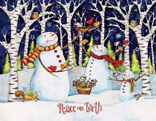 Birch and Snowman Boxed Christmas Cards