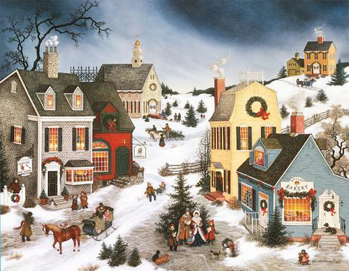 Caroling in the Village Christmas Cards
