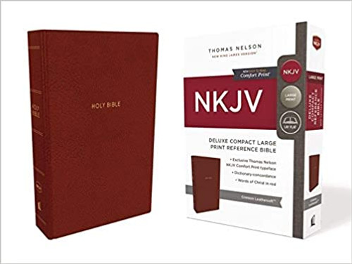 NKJV, Deluxe Reference Bible, Compact Large Print, Imitation Leather, Red, Red Letter Edition, Comfort Print - Large Print