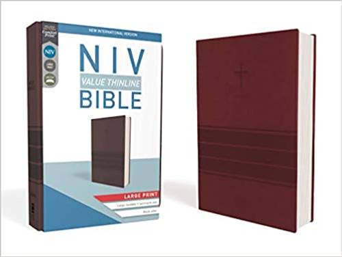 NIV, Value Thinline Bible, Large Print, Imitation Leather, Burgundy