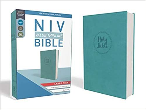 NIV, Value Thinline Bible, Large Print, Imitation Leather, Blue