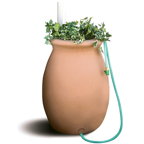 190L Agua Clay Effect Water Butt and Rain Barrel with built-in Planter