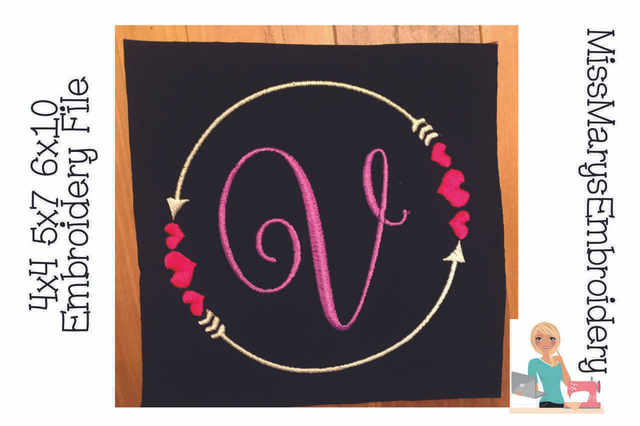 Double Arrow Heart Monogram Frame Miss Mary S Embroidery