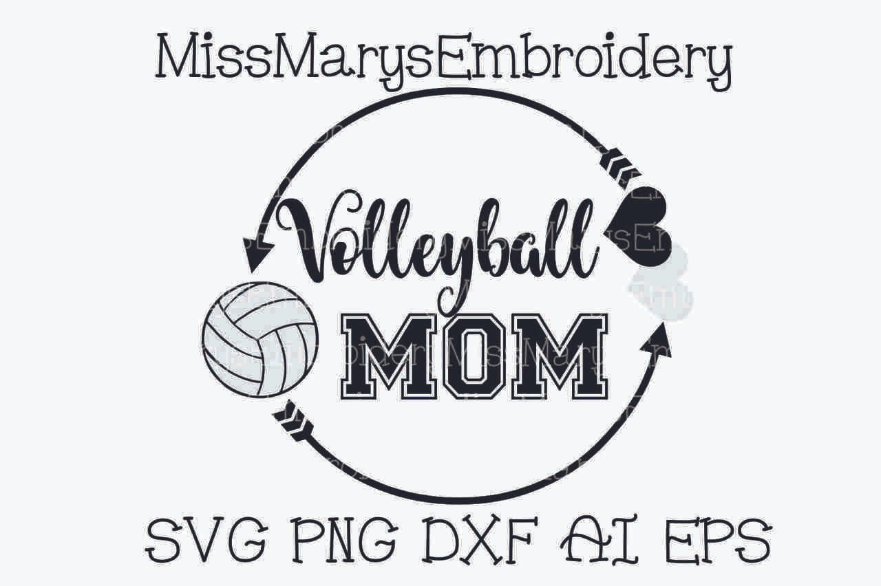 Volleyball Mom Monogram Arrow Frame Miss Mary S Embroidery