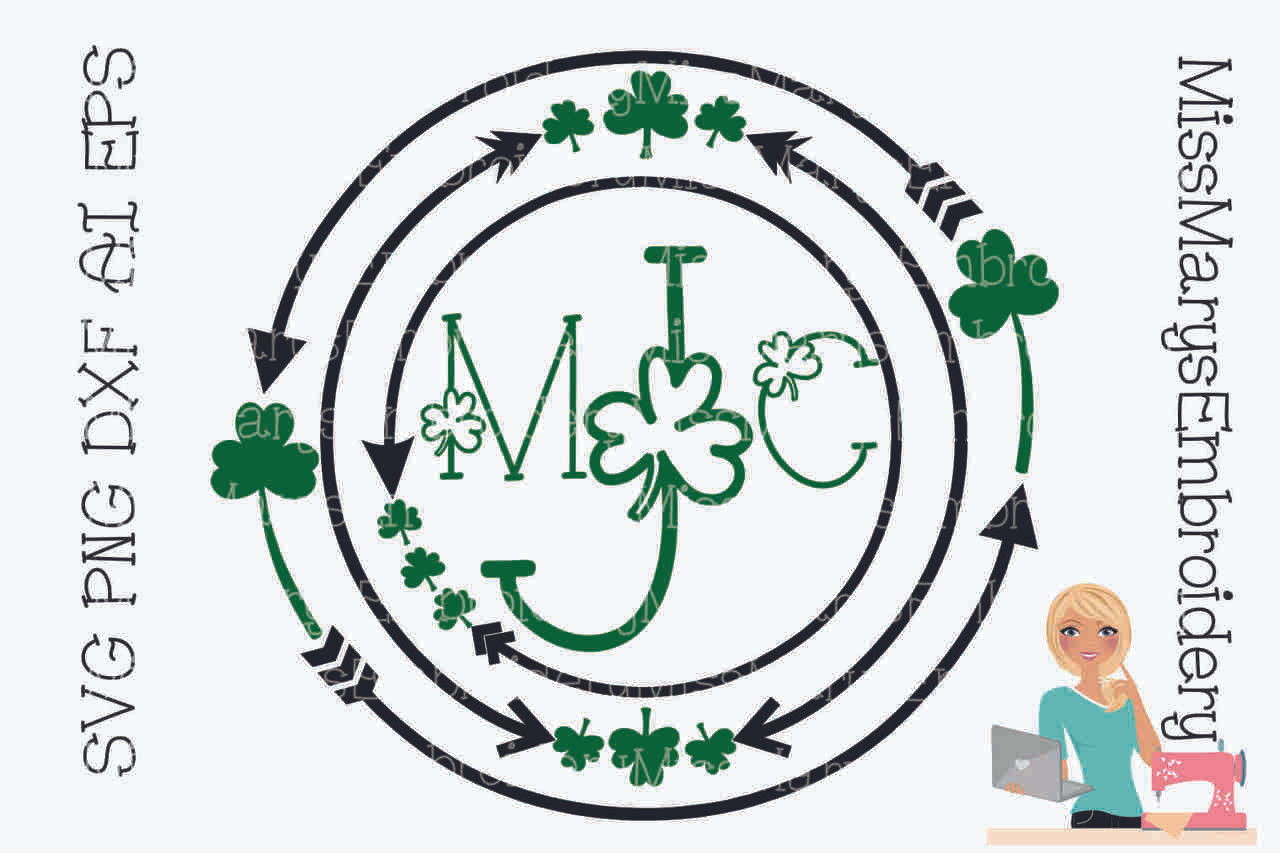 St Patrick S Day Arrow Monogram Frame Miss Mary S Embroidery