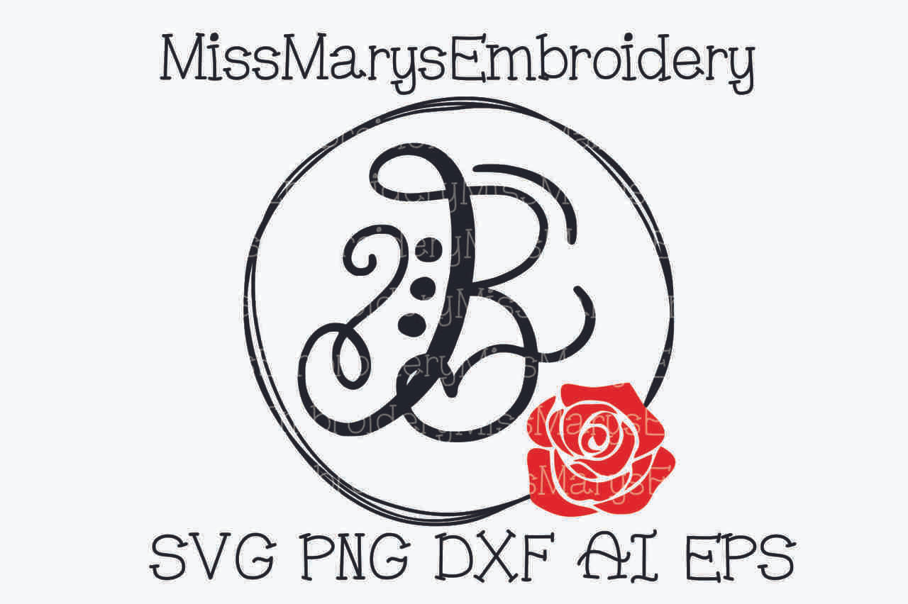 Sketch Rose Monogram Frame Svg Miss Mary S Embroidery