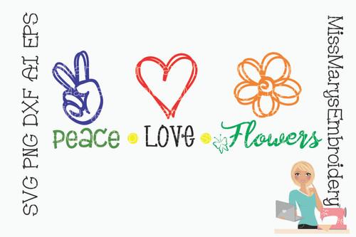 Peace Love Flowers SVG