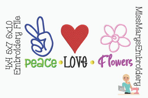 Peace Love Flowers Embroidery