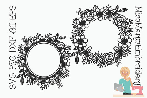 Flower Monogram Wreath Set