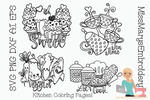 Kitchen Coloring Book Pages