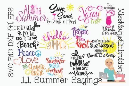11 Summer Sayings Bundle SVG