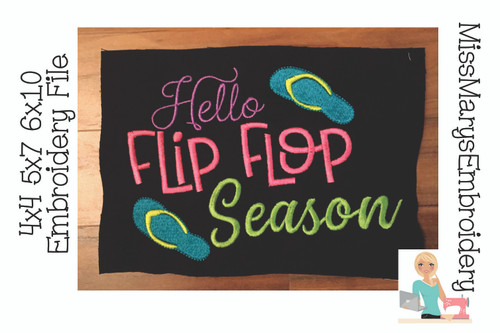 Hello Flip Flop Season Embroidery