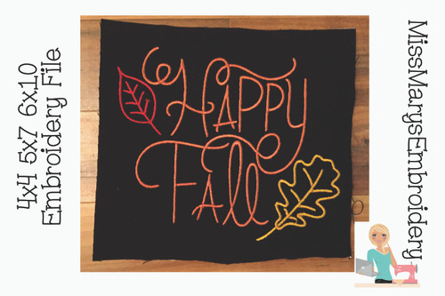 Happy Fall Embroidery