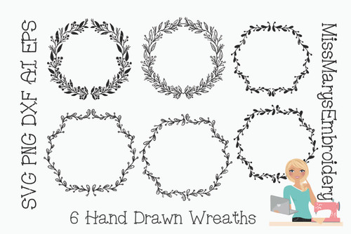 Set of 6 Hand Drawn Wreaths SVG