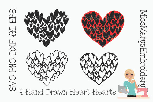Four Hand Drawn Heart Hearts