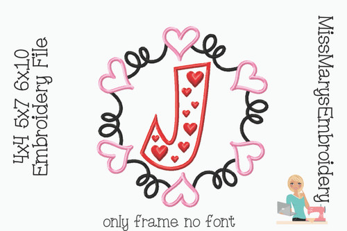 Swirl Heart Monogram Embroidery