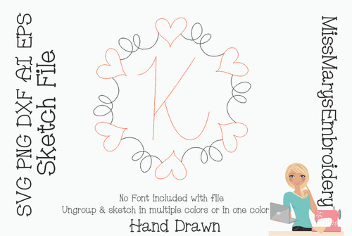 Sketch Swirl Monogram Heart