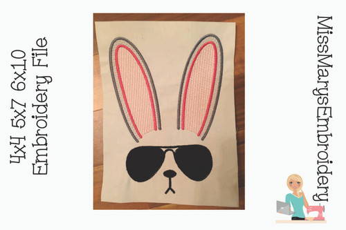 Sunglasses Bunny Embroidery