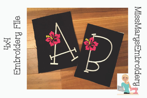 Hibiscus Flower Embroidery Font