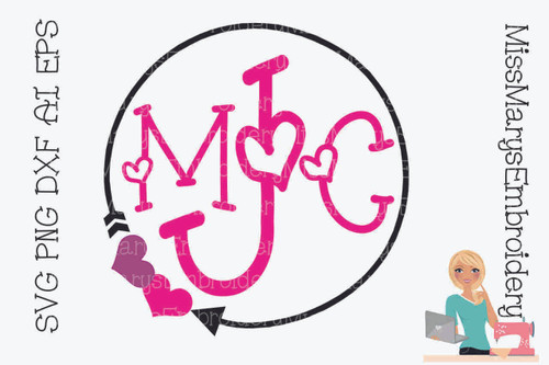 Heart Monogram SVG
