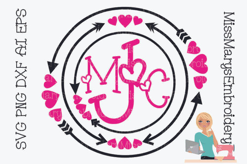 Arrow Heart Monogram Ring