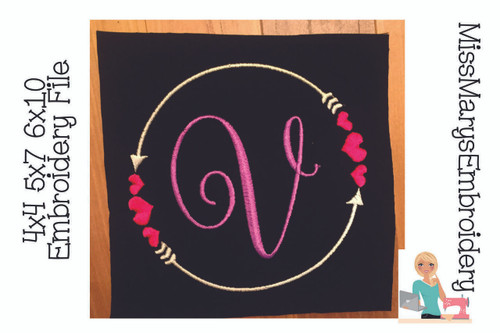 Double Arrow Heart Monogram Frame