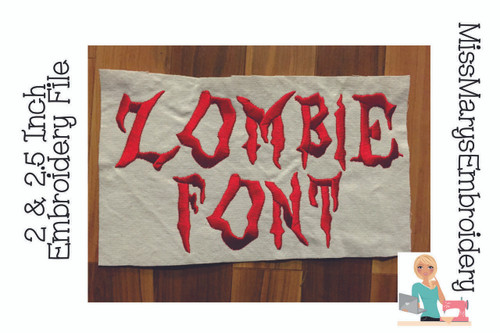 Zombie Embroidery Font