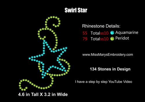 Free Rhinestone Star Swirl