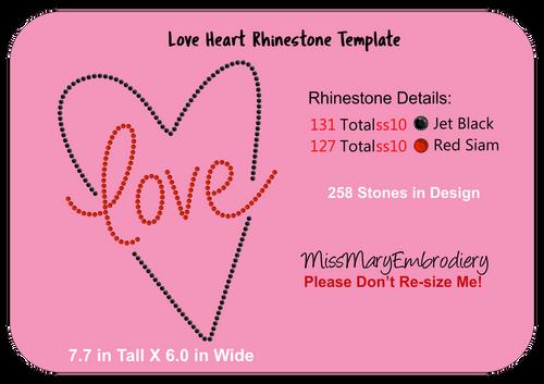 Rhinestone Love Heart SVG