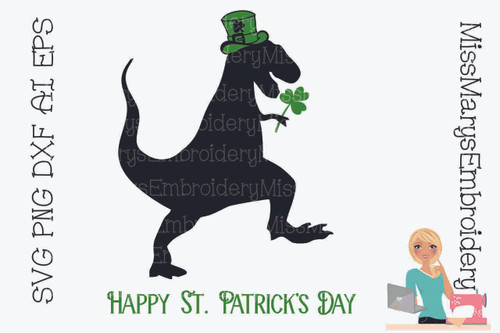 St. Patricks T-Rex SVG