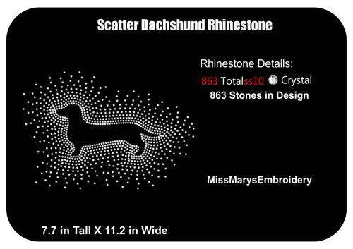Scatter Rhinestone Dachshund