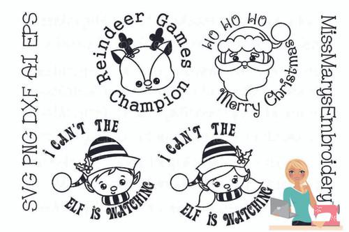 Simple Christmas Character Sayings SVG