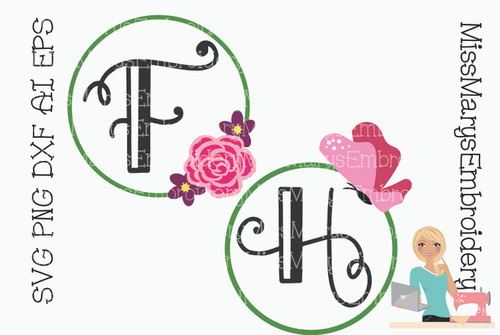 Butterfly Flower Monogram Frames