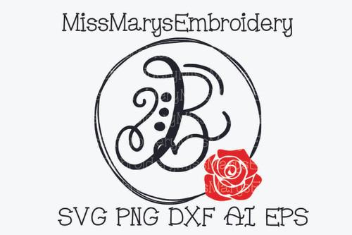 Sketch Rose Monogram Frame SVG