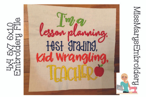 Lesson Planning Teacher Embroidery