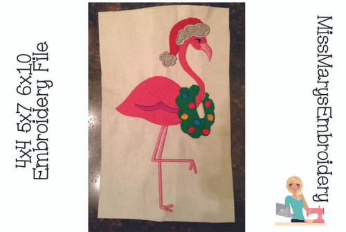 Christmas Flamingo Embroidery