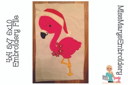 Christmas Applique Flamingo Embroidery