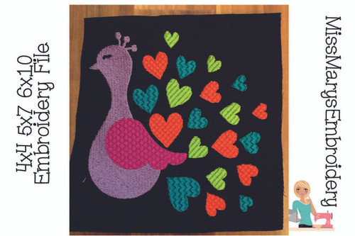 Heart Peacock Embroidery