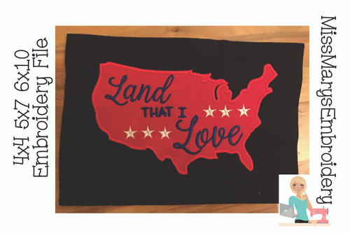 Land that I Love Embroidery Applique