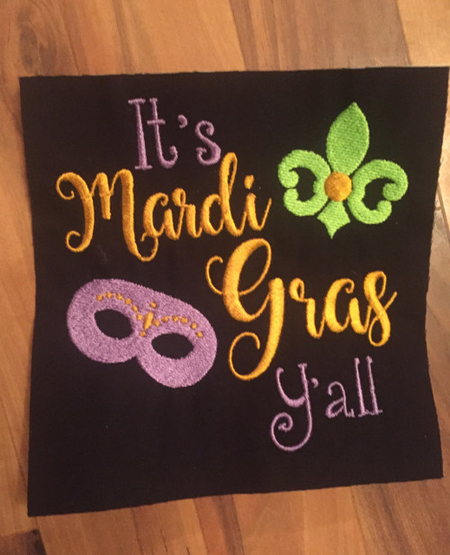 Mardi Gras Y'all Embroidery