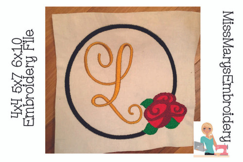 Rose Monogram Embroidery Frame