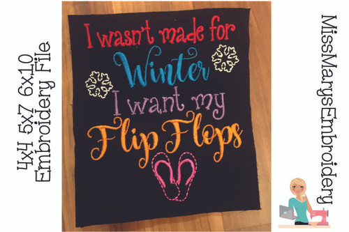 Winter Flip Flops Embroidery